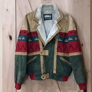 Vintage Adler Suede Aztec Bomber Jacket Medium